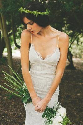 Sexy Lace Mermaid Wedding Dresses | Spaghetti Straps Summer Beach Bridal Gowns_4