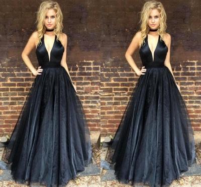 Sleeveless Floor-length V-neck A-line Chic Black Prom Dress_3
