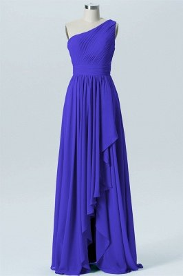 A Line Chiffon Hi-Lo One Shoulder Bridesmaid Dresses with Ruffles_5