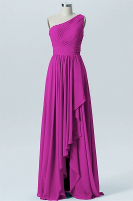 A Line Chiffon Hi-Lo One Shoulder Bridesmaid Dresses with Ruffles_3