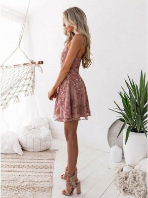A-Line Pink Floral Homecoming Dresses | Spaghetti Straps Lace Appliques Cocktail Dresses_3