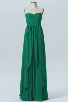 A Line Chiffon Hi-Lo Strapless Sweetheart Bridesmaid Dresses with Ruffles_2
