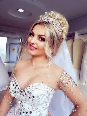 Princess Ball Gown Long Sleevess Brilliant Jewel Crystals Wedding Dresses_5