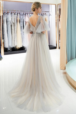 Stunning A-Line Bubble Sleeve Prom Dress | 2019 Long  Evening Dress With Beadings_4