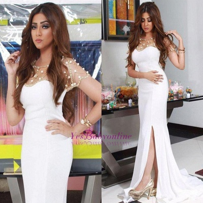 Beadings Glamorous Split  White Sexy Mermaid Evening Dress_1