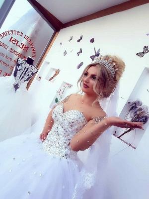Princess Ball Gown Long Sleevess Brilliant Jewel Crystals Wedding Dresses_4