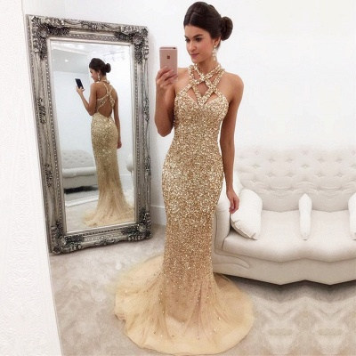 Sleeveless Zipper-Back Halter Gorgeous Crystals Mermaid Prom Dress_3