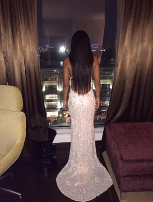 Sexy V-Neck Spaghetti-Straps Lace Backless Prom Dress_3