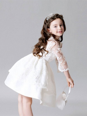 Cute A-Line Lace Bateau Appliques Flower Girl Dress with 3/4 Length Sleeves_3