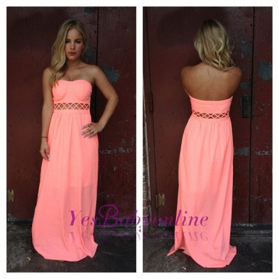 Floor-length Sleeveless Simple Strapless A-line Prom Dress_1