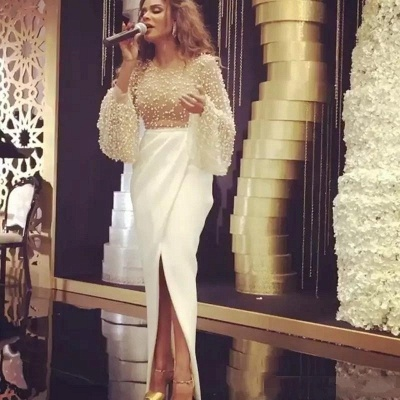Luxury Pearls Slit Evening Gowns   Long Sleeves Ruffles Formal Dresses_3