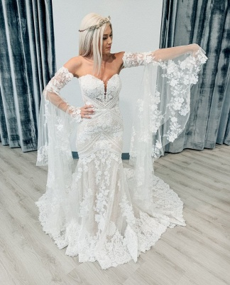 Sweetheart Off The Shoulder  Long Sleeve Applique Lace Mermaid Wedding Dress_2