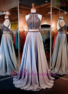 High Neck Crystals A-line Gorgeous Two-Piece Evening Dress_2