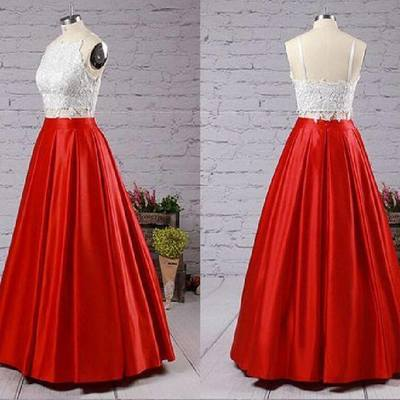2019 Two-Piece Prom Dresses Spaghettis Straps White Red with Pockets Graduation Dress_3
