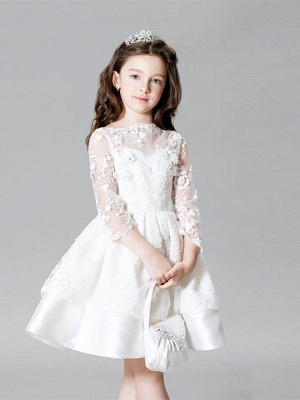 Cute A-Line Lace Bateau Appliques Flower Girl Dress with 3/4 Length Sleeves_1