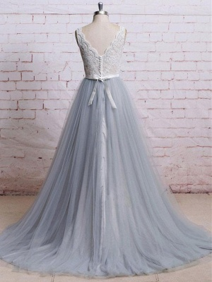 Sweep-Train Lace Bodice  Skirt V-neck A-line Prom Dresses_3