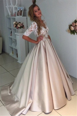 Ball Gown V-Neck Half Long Sleeves Champagne Wedding Dresses_3