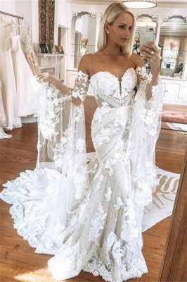 Sweetheart Off The Shoulder  Long Sleeve Applique Lace Mermaid Wedding Dress_1