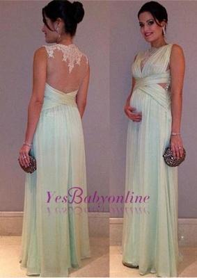 Long  Lace Sleeveless Elegant Maternity A-line Prom Dress_1