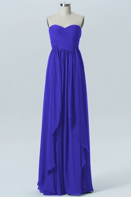 A Line Chiffon Hi-Lo Strapless Sweetheart Bridesmaid Dresses with Ruffles_1