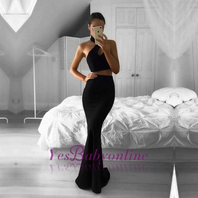 Two-Piece Black Mermaid Sleeveless Halter Newest Prom Dress_1
