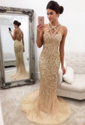 Sleeveless Zipper-Back Halter Gorgeous Crystals Mermaid Prom Dress_2