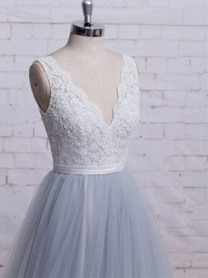 Sweep-Train Lace Bodice  Skirt V-neck A-line Prom Dresses_4