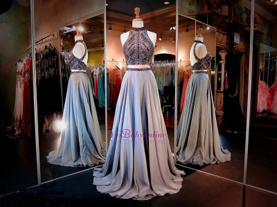 High Neck Crystals A-line Gorgeous Two-Piece Evening Dress_1