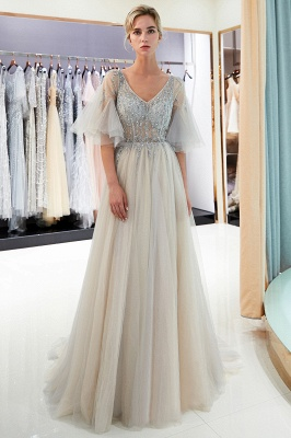 Stunning A-Line Bubble Sleeve Prom Dress | 2019 Long  Evening Dress With Beadings_3