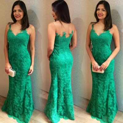 2019 Green Lace Prom Dresses Sleeveless Simple Mermaid Evening Gowns_3