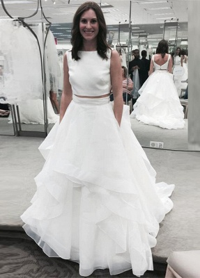 Jewel White Two-Piece A-line Ruffles Modern Sleeveless Wedding Dress_2