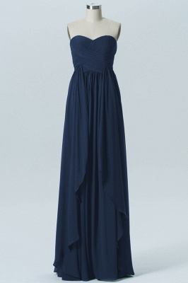 A Line Chiffon Hi-Lo Strapless Sweetheart Bridesmaid Dresses with Ruffles_5