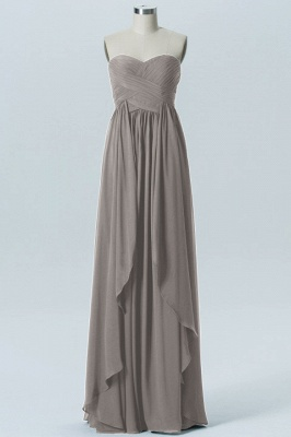 A Line Chiffon Hi-Lo Strapless Sweetheart Bridesmaid Dresses with Ruffles_4