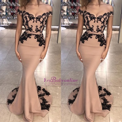 Off the Shoulder Prom Dresses |  Elegant Lace Appliques Evening Dresses_3
