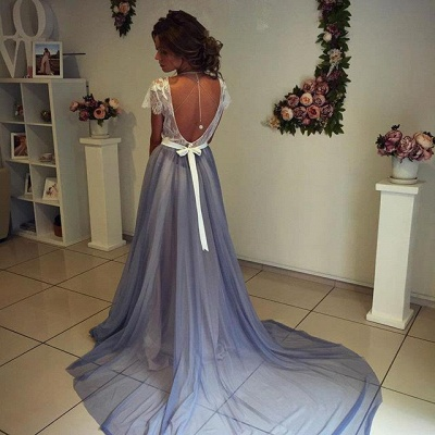 Elegant A-Line Backless Prom Dresses | Sleeveless  Evening Dresses_4