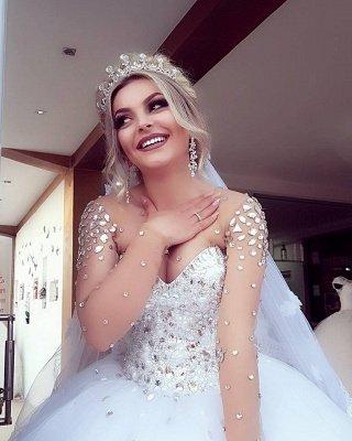 Princess Ball Gown Long Sleevess Brilliant Jewel Crystals Wedding Dresses_3