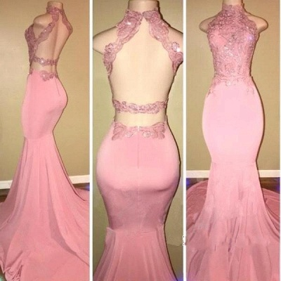 Mermaid Long Open-Back Pink High-Neck Prom Dresses_3