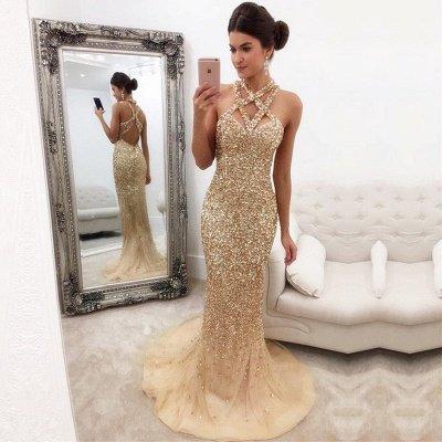 Sleeveless Zipper-Back Halter Gorgeous Crystals Mermaid Prom Dress_3