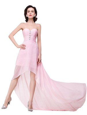 2019 Simple  Hi-Lo Sweetheart A-Line Prom Dresses with Beadings_6