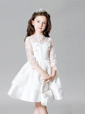 A-Line Lace Bateau Appliques Flower Girl Dress with 3/4 Length Sleeves