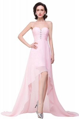2019 Simple  Hi-Lo Sweetheart A-Line Prom Dresses with Beadings_2
