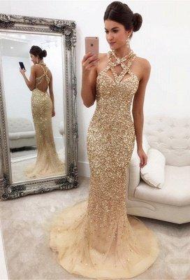 Sleeveless Zipper-Back Halter Gorgeous Crystals Mermaid Prom Dress_2