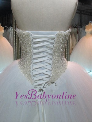 Glamorous Princess Tulle Pearls Ball-Gown Sweetheart Wedding Dress_1