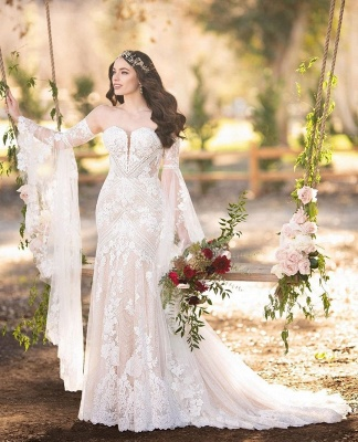 Sweetheart Off The Shoulder  Long Sleeve Applique Lace Mermaid Wedding Dress_3