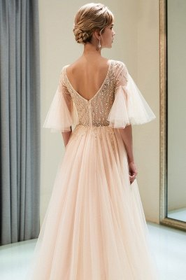 Stunning A-Line Bubble Sleeve Prom Dress | 2019 Long  Evening Dress With Beadings_6
