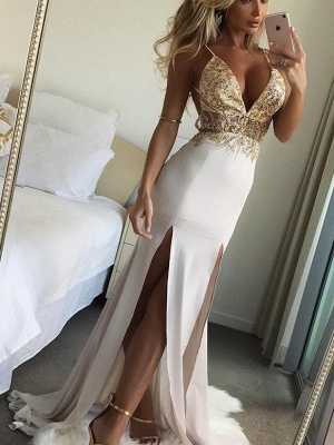 Shiny Beading Spaghetti Straps Evening Dresses | Sexy Deep V-Neck Mermaid Prom Dresses_1