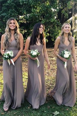 Simple Sleeveless Floor Length V-neck Chiffon Bridesmaid Dresses_1