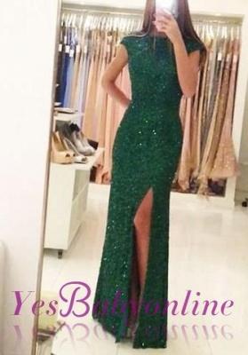 Sexy Backless Floor-length Sequins Sheath-Column Green Evening Dress_2