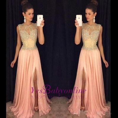 Gorgeous Front-Split Beads A-line Chiffon Sleeveless Prom Dress_1