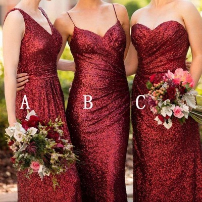 Cheap Burgundy Mismatch Bridesmaid Dress,Long Sequin Bridesmaid Dress_3